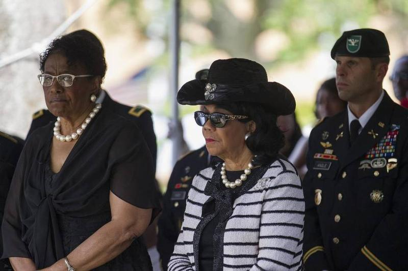 U.S. Rep Frederica Wilson, D-Miami Gardens, attends the burial service of Sgt. La David Johnson at Fred Hunter's Hollywood Memorial Gardens in Hollywood, Florida on Saturday, Oct. 21, 2017.