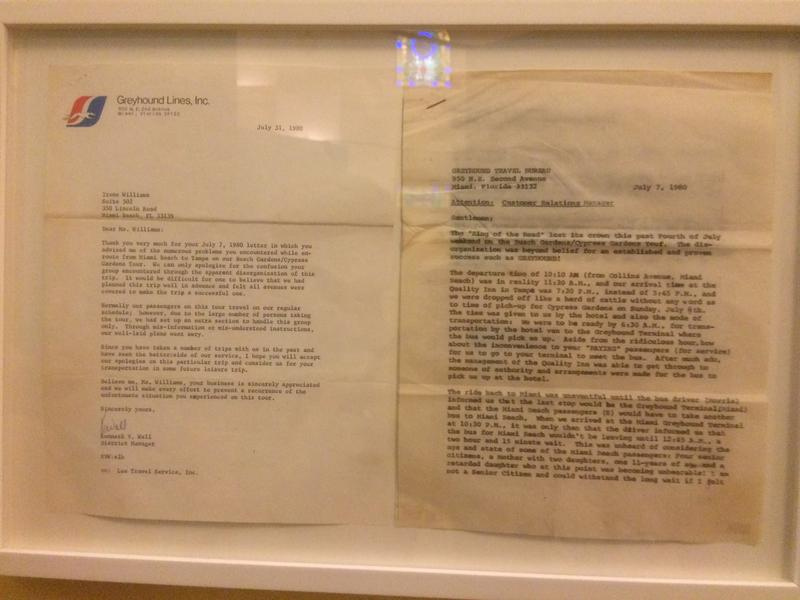 Complaint letter to the Greyhound bus company, and a response (on display at the Jewish Museum of Florida). Listen to Eric Smith describe this in the audio.