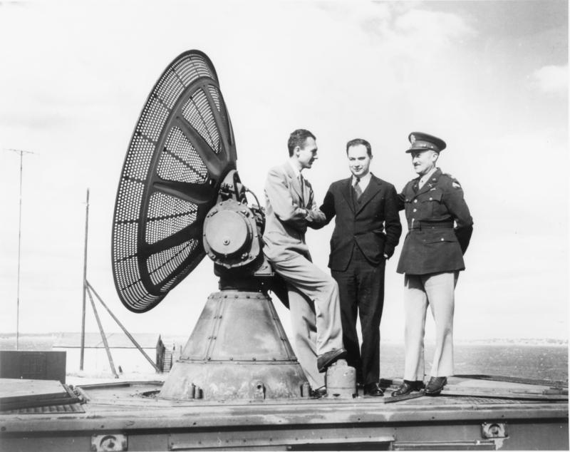 Radar scope on the roof of Massachusetts Institute of Technology, circa 1942.