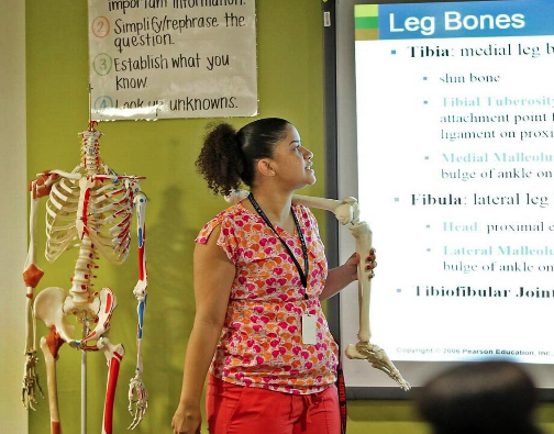 Teacher Desiree Chase delivers a lesson about the different parts of the leg at MAST Academy @ Homestead.