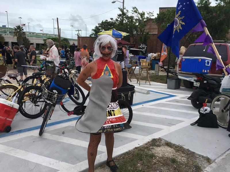 Carol Christman of Key West was dressed as the iconic Southernmost Point buoy, complete with gray patch representing the area where Hurricane Irma scoured off the paint.