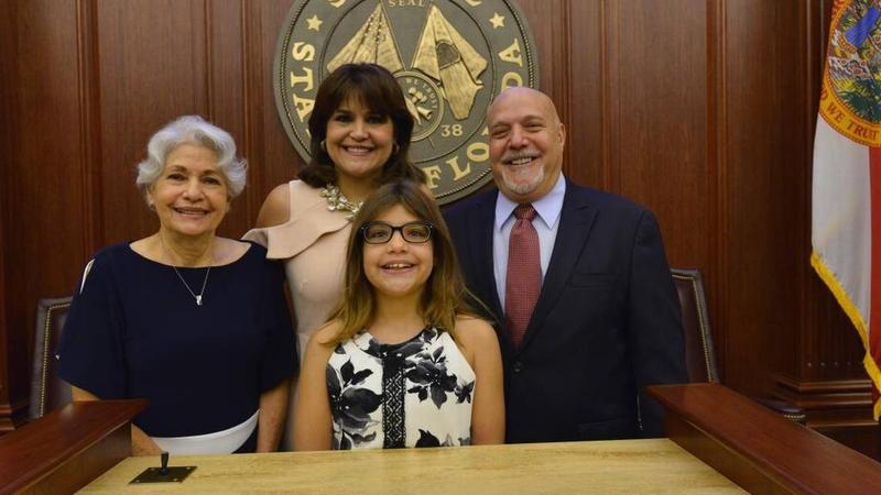 Sen. Annette Taddeo was joined at her swearing-in ceremony by her mother Elizabeth Taddeo, her 11-year-old daughter Sofia Taddeo-Goldstein and her husband Eric Goldstein.