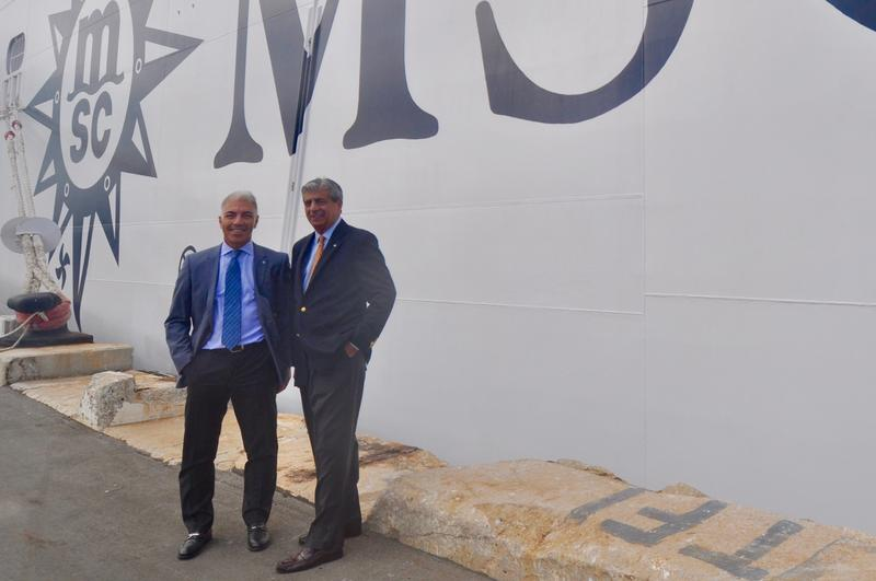 Roberto Fusaro and Richard Sasso lead MSC Cruise North America's efforts to expand in South Florida. They are pictured dockside as the MSC Divina prepares for a Caribbean cruise out of PortMiami.