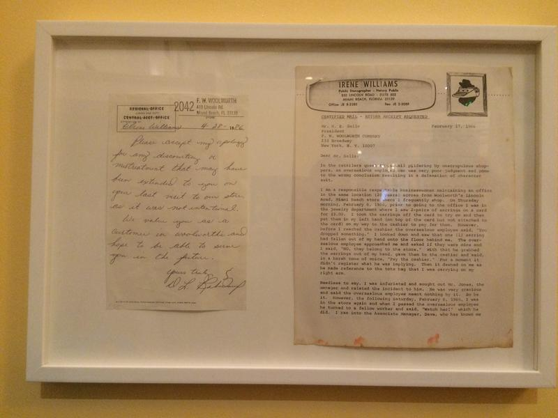 Complaint letter to Woolworths, with response.  (On display at the Jewish Museum of Florida)