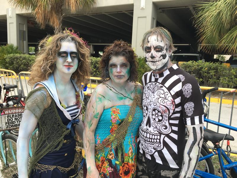 Chaya Donne, Crystal Downs and Jim Koch are tourists who came to Key West for Fantasy Fest, including the Zombie Bike Ride on the opening weekend.
