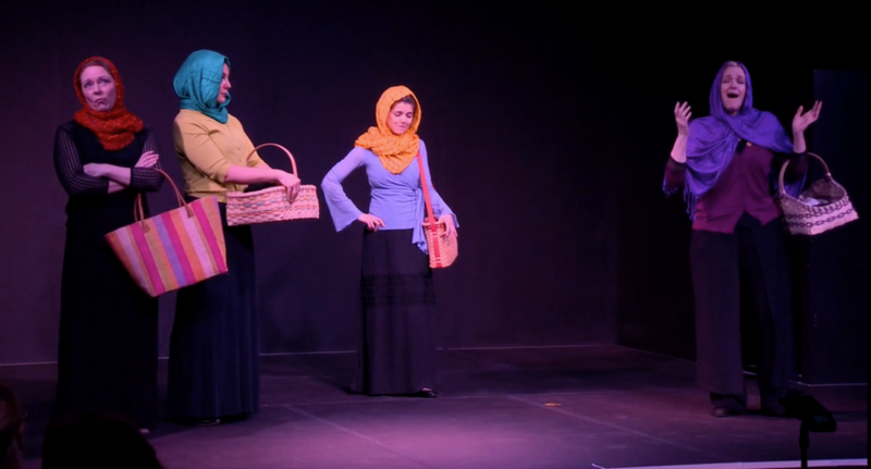"For the market scene in ""A Thousand Splendid Suns,"" librettist Stephen Kitsakos took some license, creating a scene in which one woman extols the virtues of her husband in the bedroom. (Vira Slywotzky, Risa Renae Harman, Deanne Meek, Lucy FitzGibbon)"
