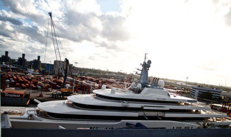 Stretching nearly two football fields long and valued around $500 million,Russian businessman Roman Abramovich'syachtEclipseis the second largest in the world. Port of Palm Beach, Nov. 20, 2017.