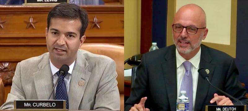 Rep. Carlos Curbelo (R) at a recent House Ways and Means Committee meeting. Rep. Ted Deutch (D) speaking at a recent House Judiciary Committee hearing.