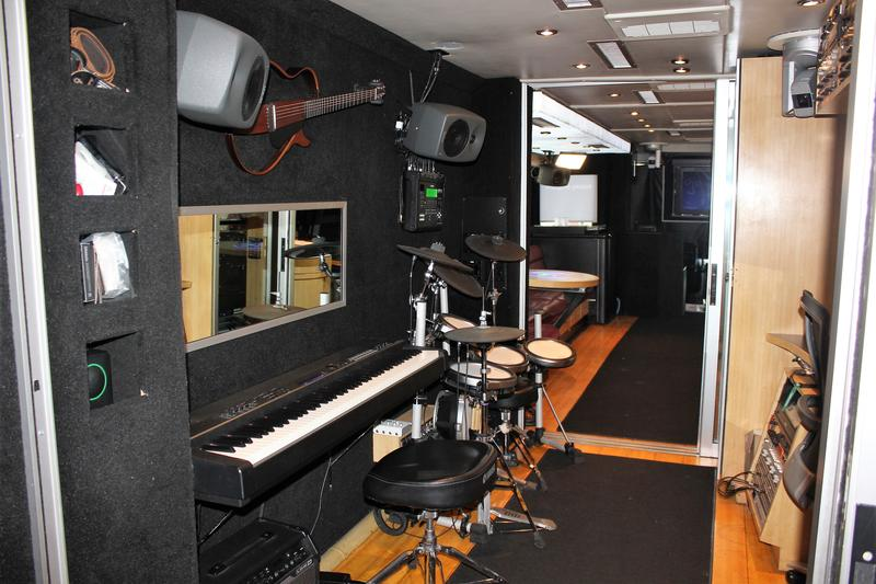 The interior of the bus-turned-recording-studio-on-wheels. Local students toured it recently to learn about careers in audio and video production.