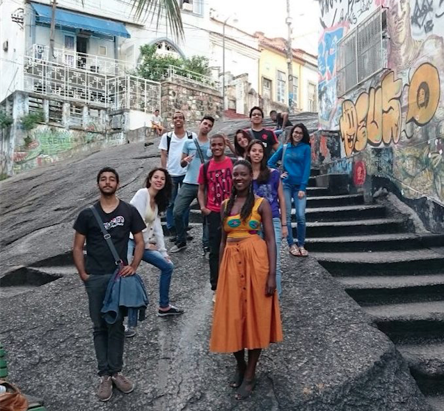 Thais Pinheiro (lower right) leading a tour of a Brazilian quilombo.