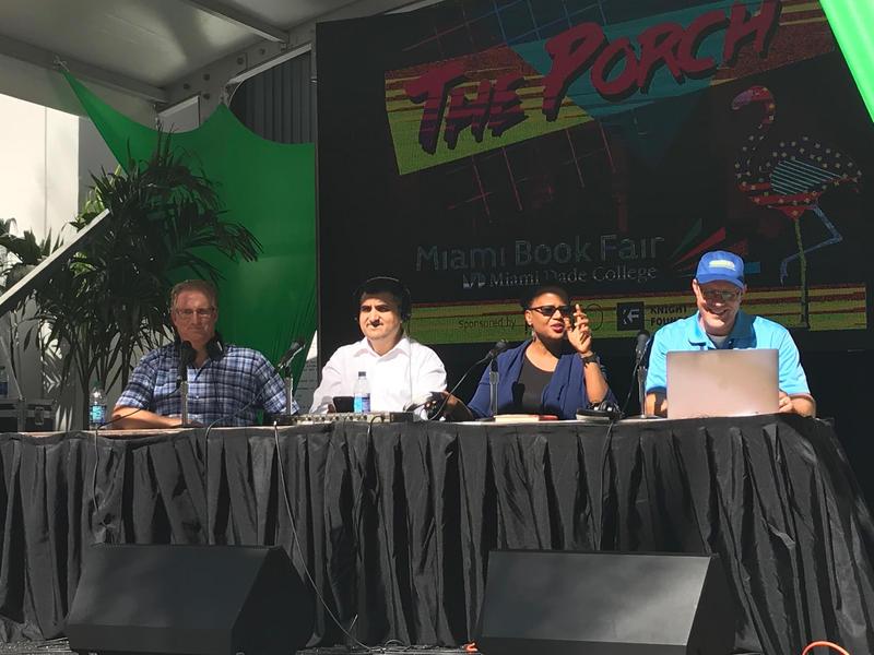 From  left, Dr. Andrew Frank, Roben Farzad, Edwidge Danticat and WLRN's Tom Hudson