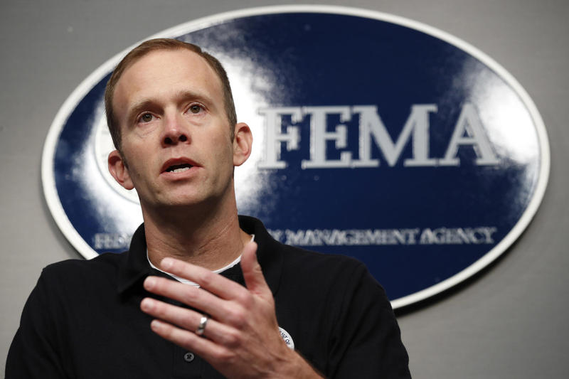Federal Emergency Management Agency Director Brock Long speaks about Hurricane Irma at FEMA headquarters in Washington in September.