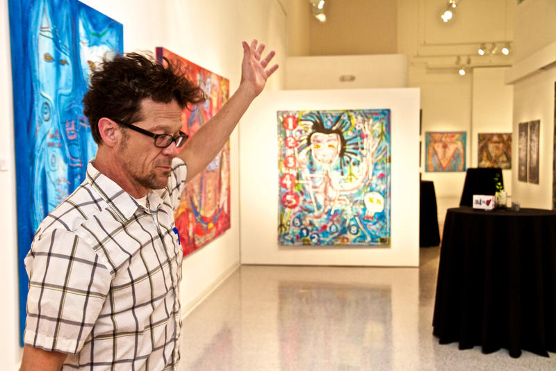 "Former Metallica bassist Jason Newsted unveils his new art exhibit, ""Rawk — The Art of Jason Newsted,"" at the Cultural Center of Palm Beach County in Lake Worth on Dec. 1, 2017."