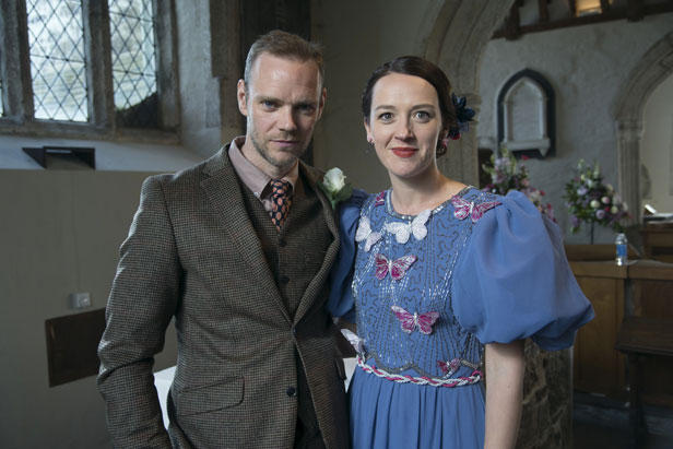 Joe Absolom as Al and Jessica Ransom as Morwenna, the receptionist