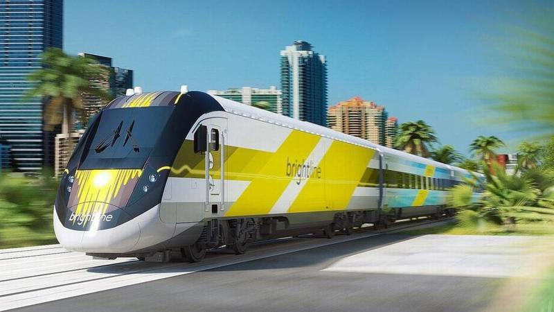 An artist rendering of a Brightline train from All Aboard Florida, its parent company.