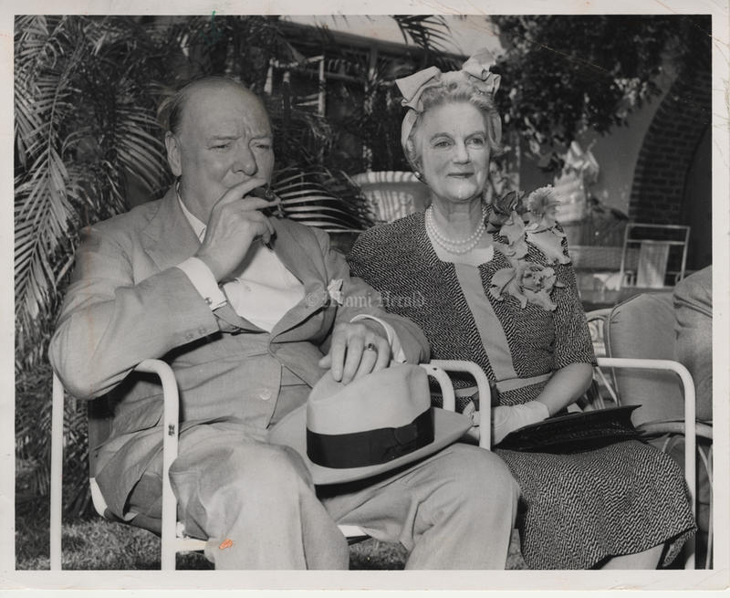 Sir Winston Churchill and his wife Clementine Churchill while vacationing in South Florida. Photo by the Miami Herald 1946