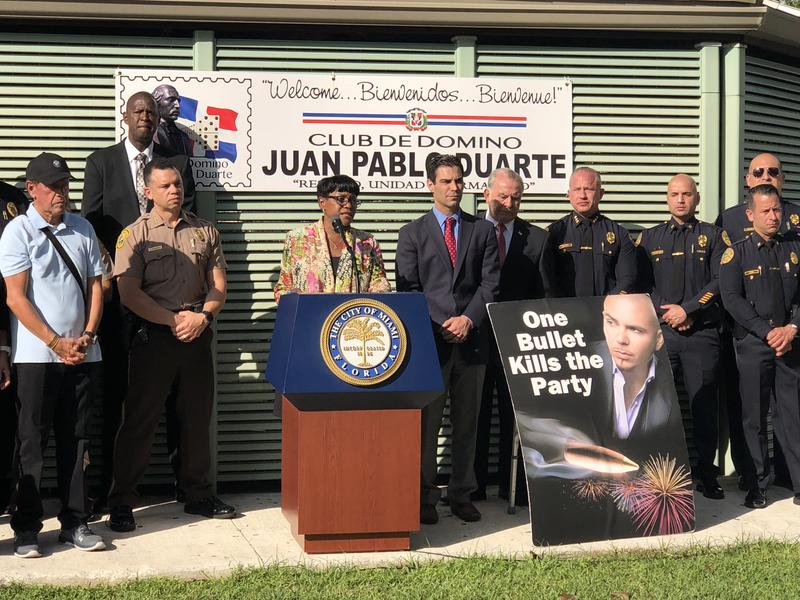 Miami-Dade Commission Vice-Chairwoman Audrey Edmonson and Miami Mayor Francis Suárez held a press conference to urge citizens not to use gunfire to celebrate the new year and to report anyone who does
