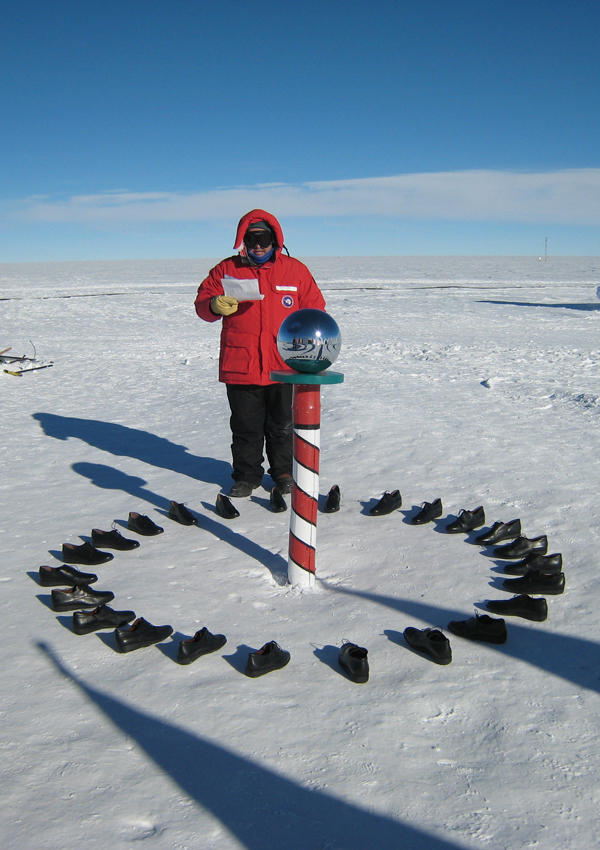 Artist Xavier Cortada at the South Pole during his Longitudinal Installation in Antarctica.