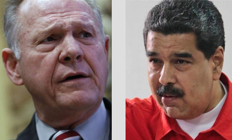 Defeated Alabama Senate candidate Roy Moore (left) and victorious Venezuelan President Nicolas Maduro
