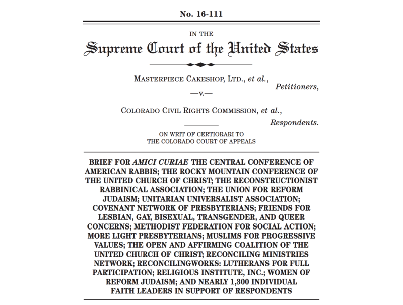 Cover sheet of amicus brief signed by religious leaders and clergy in support of respondents.