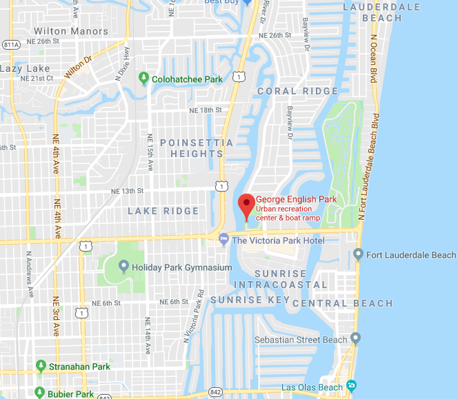Google Maps showing George English Park in Fort Lauderdale