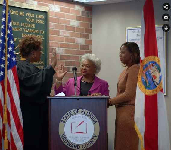 Dr. Brenda Snipes getting sworn in