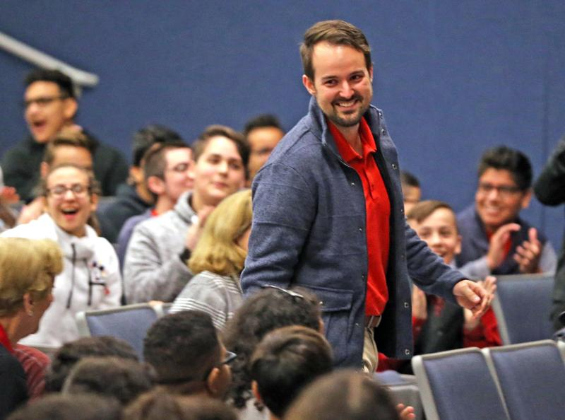 Teacher Dale Adamson wins the Milken Educator Award and $25,000 at Howard D. McMillan Middle School. Only one teacher in Florida was awarded the honor in the national award.