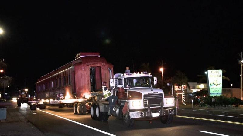 Around 2 a.m. Tuesday morning, a tractor-trailer truck pulled the old Pullman train car three miles to its new point at Crane Point Hammock.
