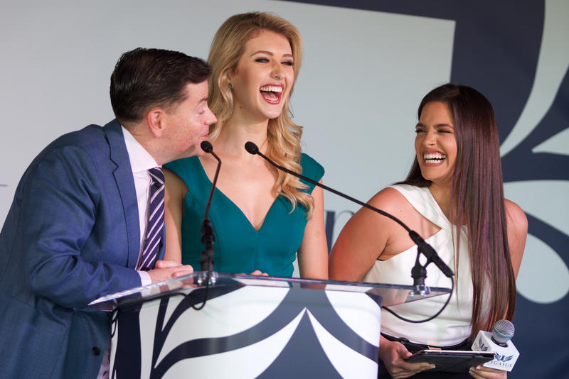 Presenters announce the 2018 Pegasus World Cup post position draw results at Gulfstream Park in Hallandale Beach, Fla. on Jan. 24, 2018.