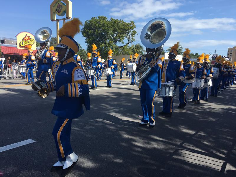 A high school marching band plays at the 2018 Dr. Martin Luther King Jr. Day parade in Liberty City.