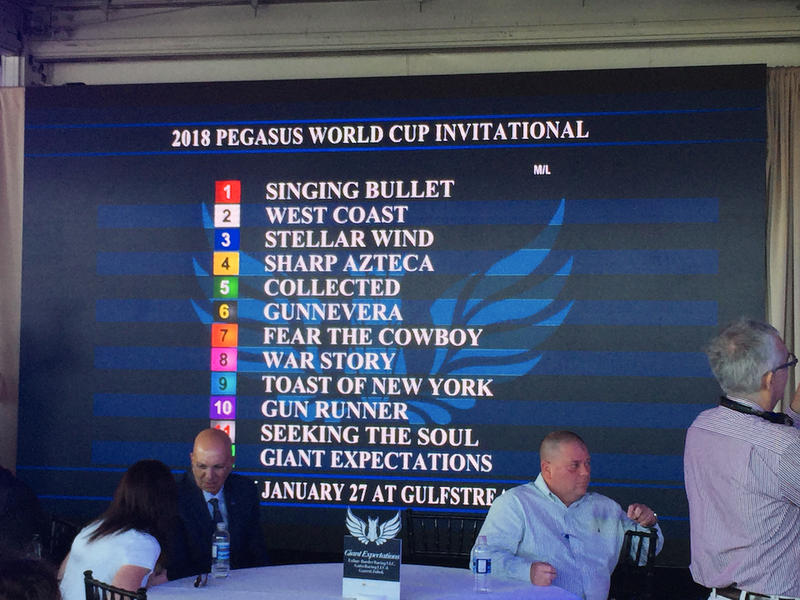 The race lineup is finalized at the 2018 Pegasus World Cup post position draw at Gulfstream Park in Hallandale Beach, Fla. on Jan. 24, 2018.