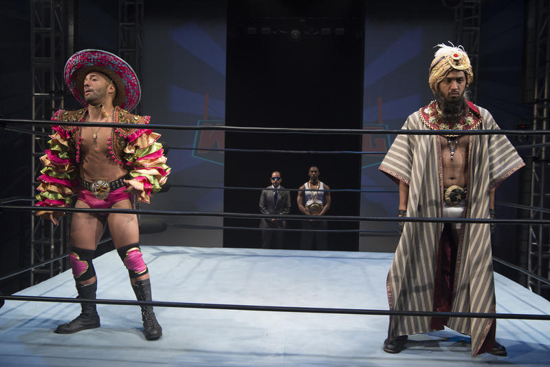 """Actors Pierre Jean Gonzalez (L) and Raji Ahsan (R) in Miami New Drama's production of """"The Elaborate Entrance of Chad Deity."""""""