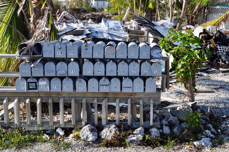 The mailboxes for an RV neighborhood on Big Pine Key survived Hurricane Irma, but the homes did not. How the Lower Keys rebuild could influence the character of the Keys for years to come.