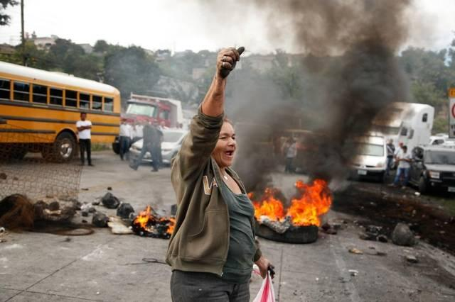 A Honduran protester chants anti-government slogans during a recent demonstration in Tegucigalpa against alleged fraud in November's presidential election.