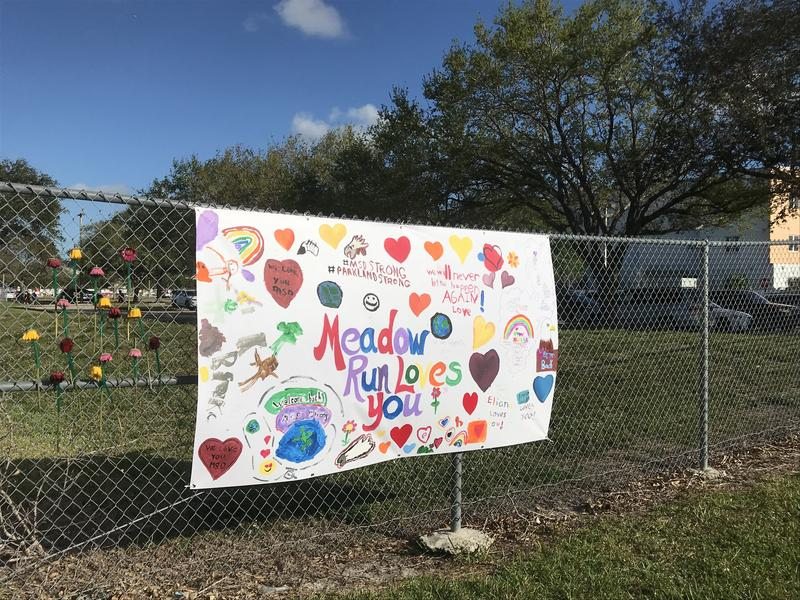 Neighboring housing community, Meadow Run, in Parkland put up a banner for students who came back to Marjory Stoneman Douglas on Sunday.