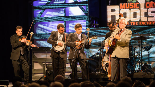 Bluegrass patriarch Del McCoury with his family band