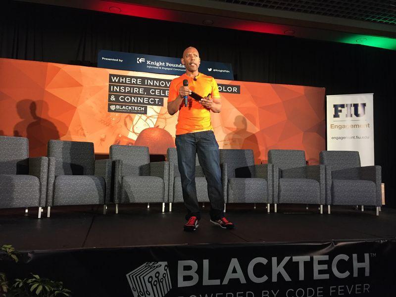 Leslie Miley speaking at Blacktech Week in 2016.