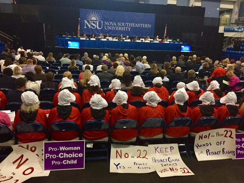 "Floridians for Privacy Rights staged ""The Handmaids Resistance"" against Proposals 4 and 22 at the Constitution Revision Committee's public hearing at Nova Southeastern University on Tuesday, Feb. 6, 2018"