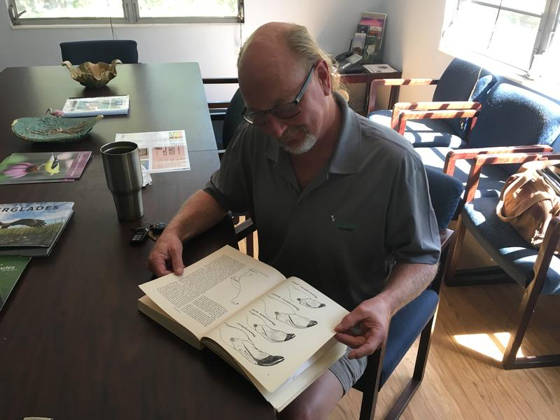 Jerry Lorenz, director of research for Audubon Florida, looks at the monograph on flamingos written by Robert Porter Allen, who established the science center in Tavernier.