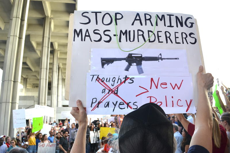 Hundreds gathered at the rally to call for a ban on assault weapons in Florida after the shooting at Marjory Stoneman Douglas High School that left 17 dead.