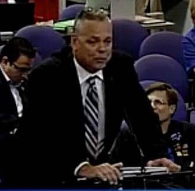 Scot Peterson, school resource officer at Marjory Stoneman Douglas High School, addresses a public hearing before the massacre that led to his exit from the Broward Sheriff's Office.