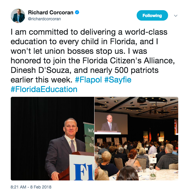 Corcoran tweeted about the D'Souza event, where he also spoke.