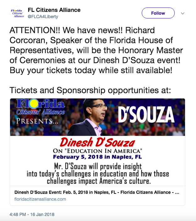 A group that promoted D'Souza's event tweeted to celebrate Corcoran's involvement.