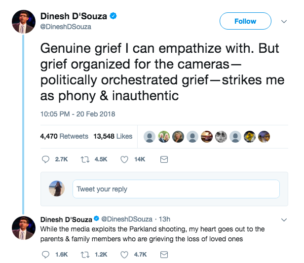 Here's a D'Souza tweet criticizing the students for their activism.