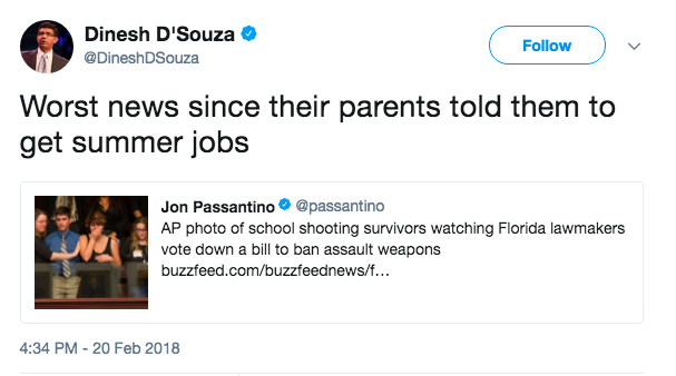 Here's one of the mocking tweets from D'Souza.