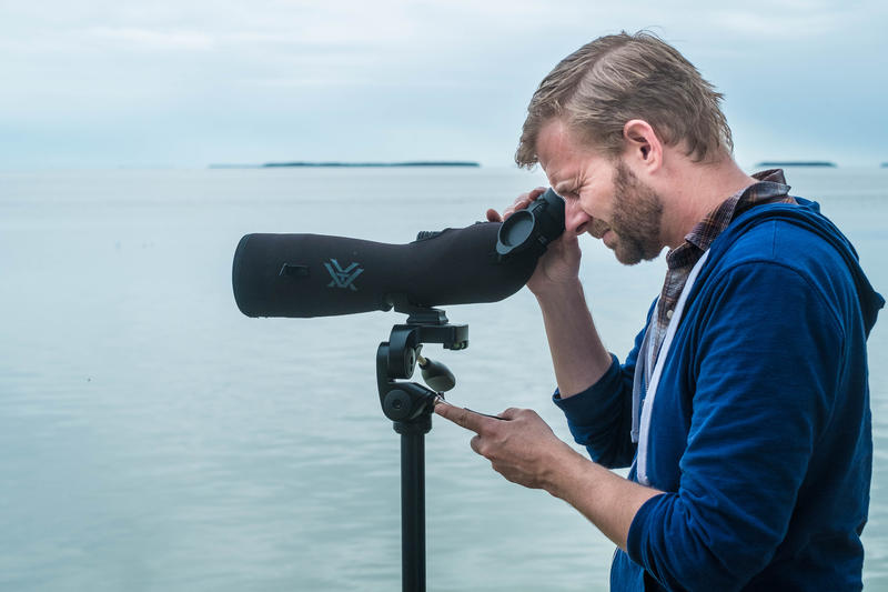 Steven Whitfield, a conservation biologist at Zoo Miami, looks through a spotting scope at Flamingo, a town named for the birds — and an occasional haunt of Conchy the flamingo.