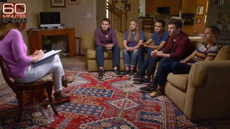 """Stoneman Douglas students, from left, Alex Wind, Jaclyn Corin, David Hogg, Cameron Kasky and Emma Gonzalez sit down for a """"60 Minutes"""" interview that aired Sunday night."""