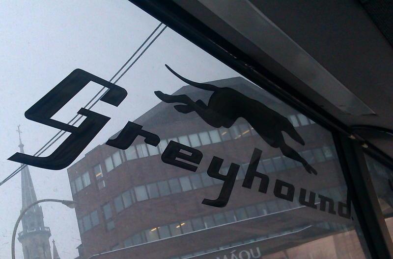 Greyhound bus sign