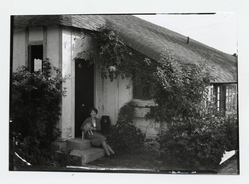 Marjory Stoneman Douglas sits outside her cottage in Coconut Grove on an unspecified year. She wrote and lived there until her death in 1998.