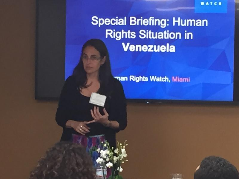 Tamara Taraciuk of Human Rights Watch describing Venezuela's human rights abuses at the University of Miami's Institute for the Advanced Study of the Americas on Thursday.